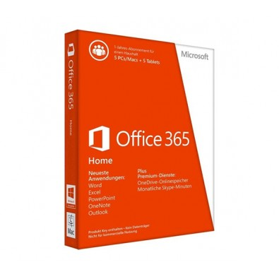 Phần mềm Microsoft Office 365 Home Premium 32-bit/x64 English Subscr 1YR APAC EM Medialess